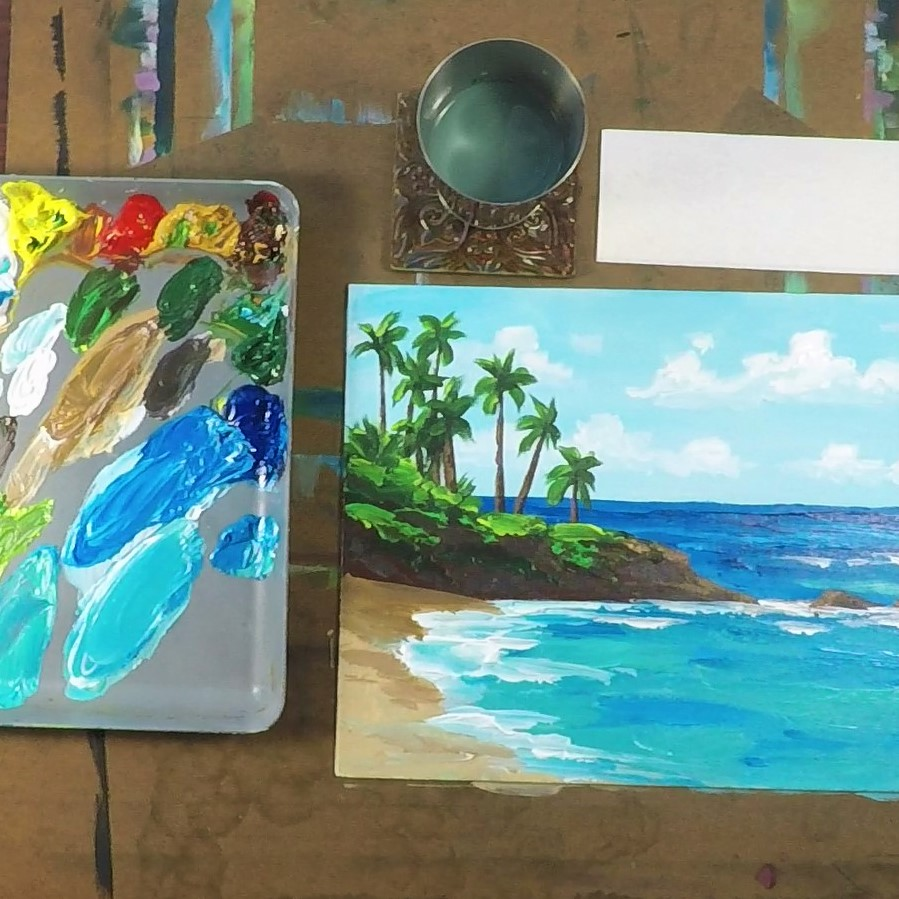POIPU MORNING - ACRYLIC TUTORIAL