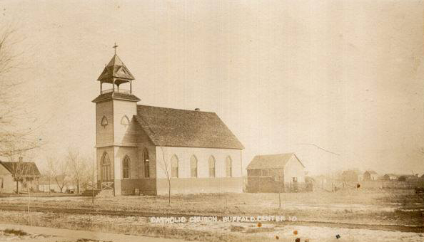 St. Patrick's Catholic Church was located on the block where Travis Hassebroek lives now (North Main Street and 5th Avenue) and was moved to its present location in the fall of 1916 when additions were added on to the front and sides of the church, along with a basement. This church was built in 1899.