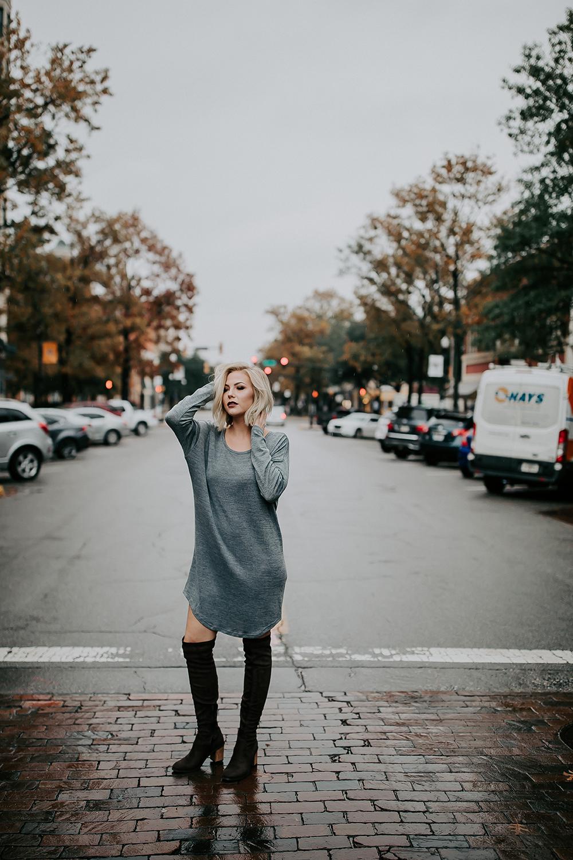 Blond Woman Walking Across the Street Downtown