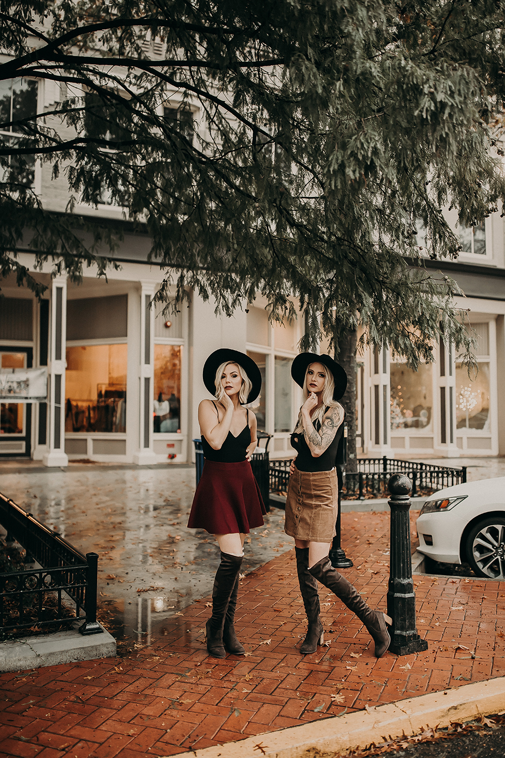 2 Fashionable Ladies Hanging Out Downtown