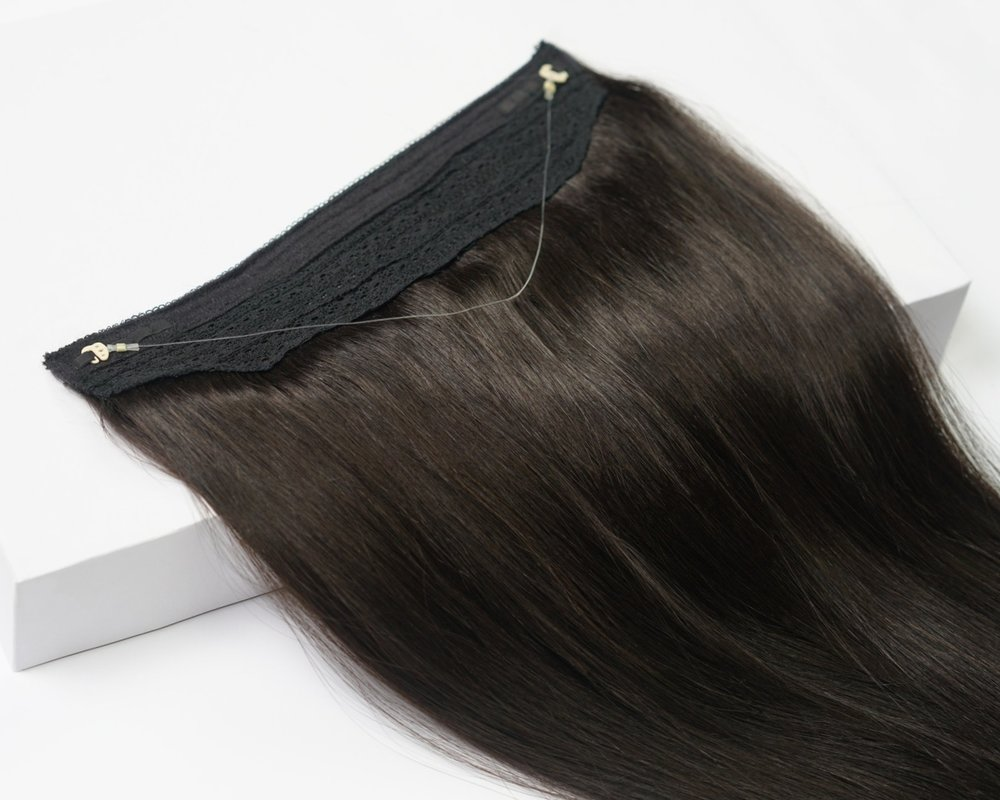 JOI VEIL (HALO-STYLE Hair Extensions) - Using a transparent string that will blend seamlessly with the layers of your own hair, this halo-style extension piece is a one-step wonder to length and volume.