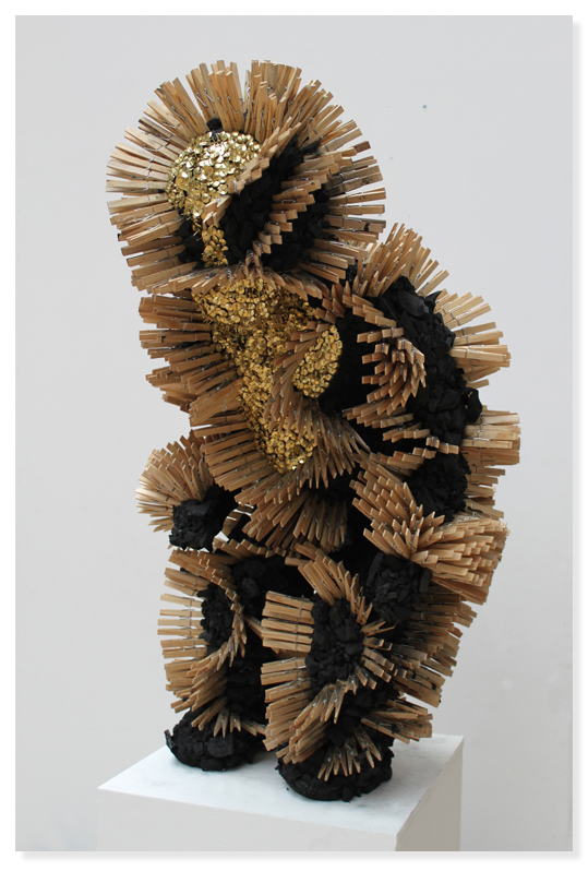 Fetish sculpture II, 2014 - Charcoal, wood and brass on plaster, 88 x 51 x 58 cm (34.6 x 20 x 22.8 in.)
