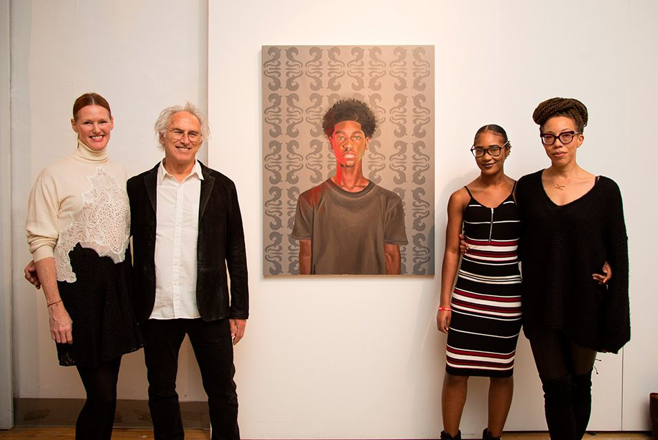 Jennifer Schipf, Eric Fischl,  Winner Monica Ikegwu  and Amy Sherald