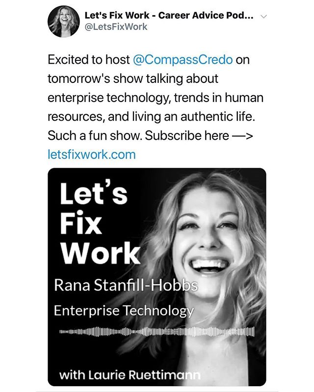 It was such a wonderful experience talking with Laurie Ruettimann about HR trends and living an authentic life. I am still amazed at the deeper honesty I heard myself articulate when someone took the time to listen and to ask the real questions. Thank you Laurie for creating such a dynamic space and conversation for us all to join. #Letsfixwork  https://laurieruettimann.com/letsfixwork-54/