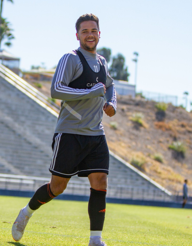Harry Forrester warming up before pre-season friendly vs. Cal State Fullerton | Photo courtesy of Orange County SC