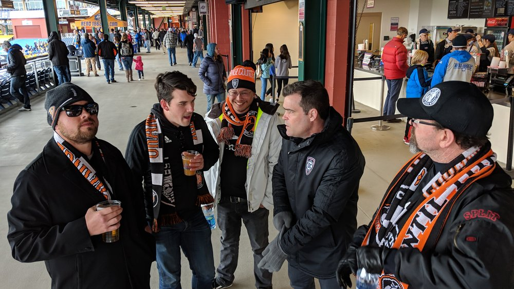 Orange County SC GM Oliver Wyss speaks to fans that made the trip up to Reno.