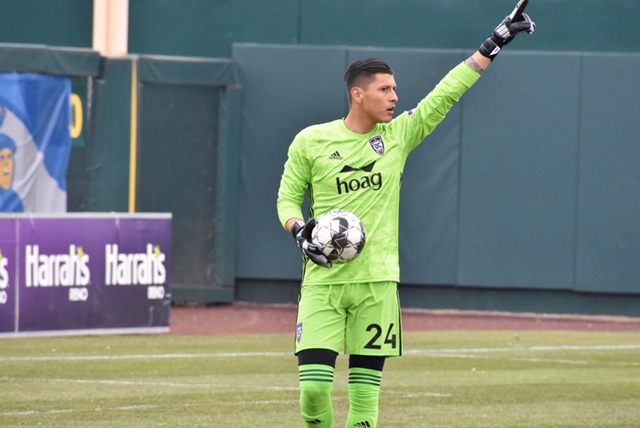 Orange County SC goal keeper Carlos Lopez on his USL debut   Photo courtesy of John Macaluso (1868 Weekly)