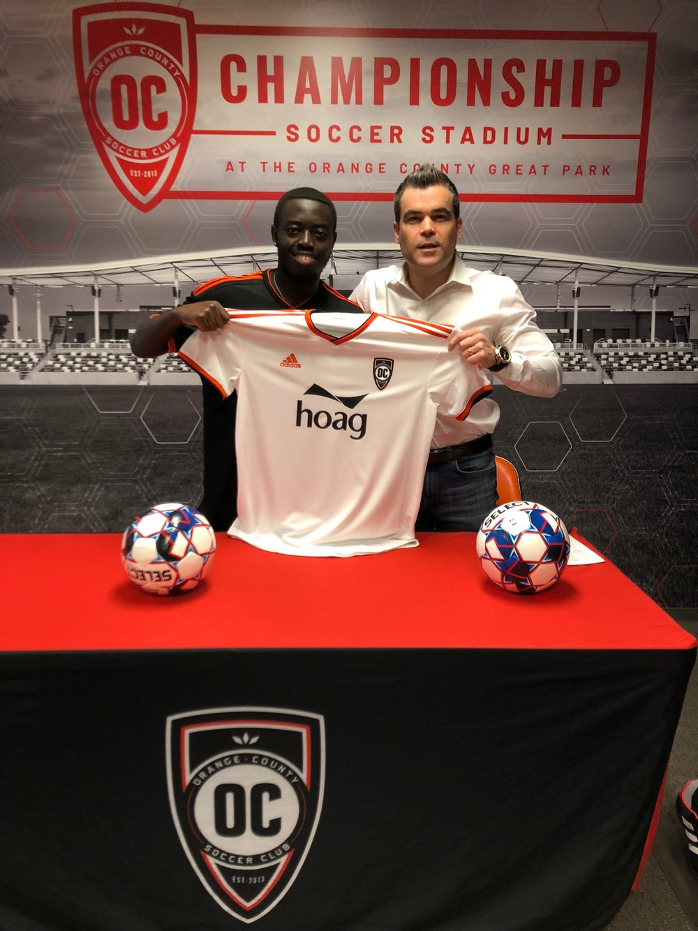 Kevin Coleman with Orange County SC GM Oliver Wyss   Photo courtesy of Orange County SC