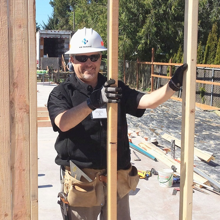 David Anderson volunteering at Habitat for Humanity's Executive Build program.