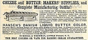 An old advertisement for supplies sold in this area to butter and cheese producers.