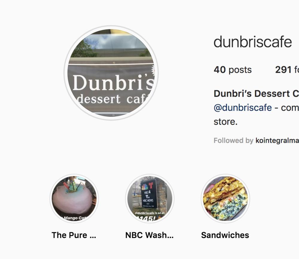 The Dunbri's Instagram Highlight Reel.