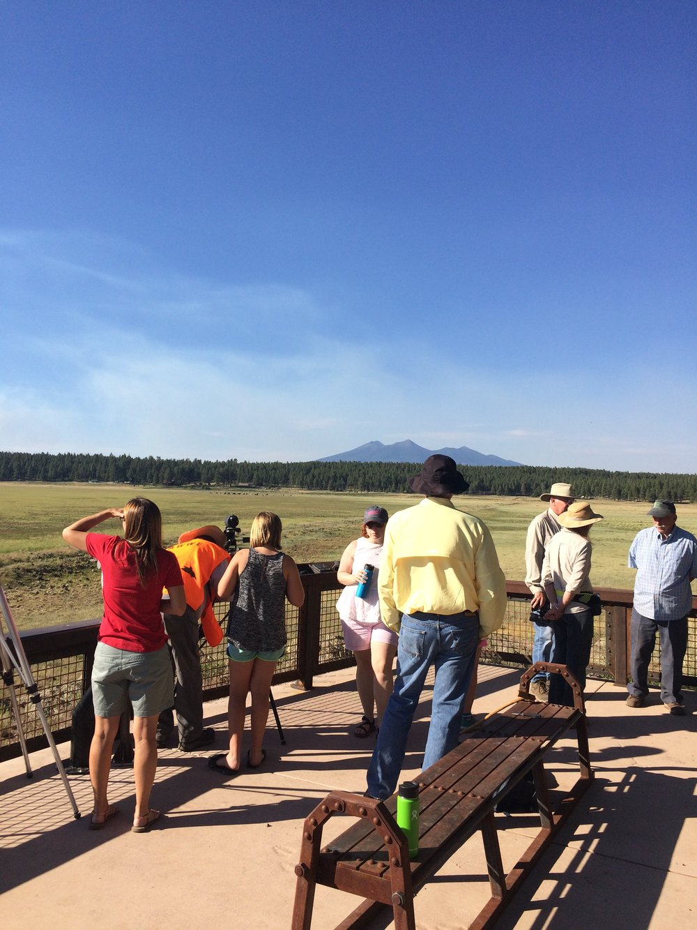 Visitors enjoy the watchable wildlife platform at Rogers Lake County Natural Area.
