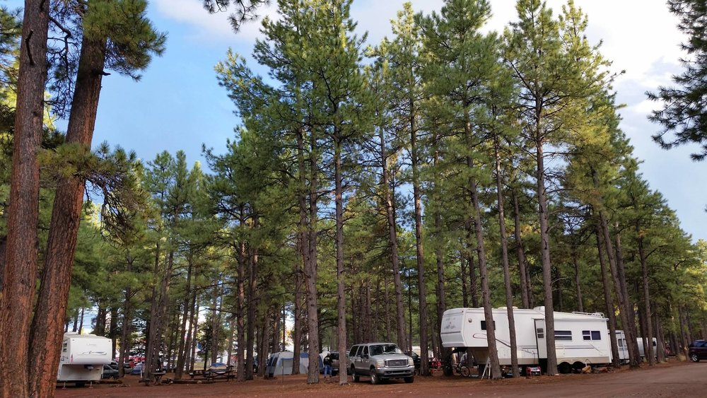 Visitors enjoy camping at Fort Tuthill County Park Campground.