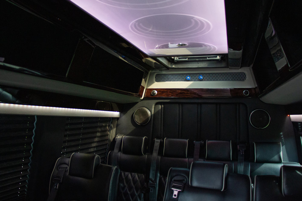 Mercedes Sprinter Van interior leather seats and lit ceiling