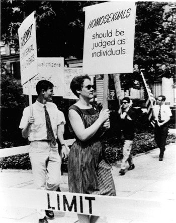 Barbara Gittings marching for LGBT liberation during the Annual Reminders.