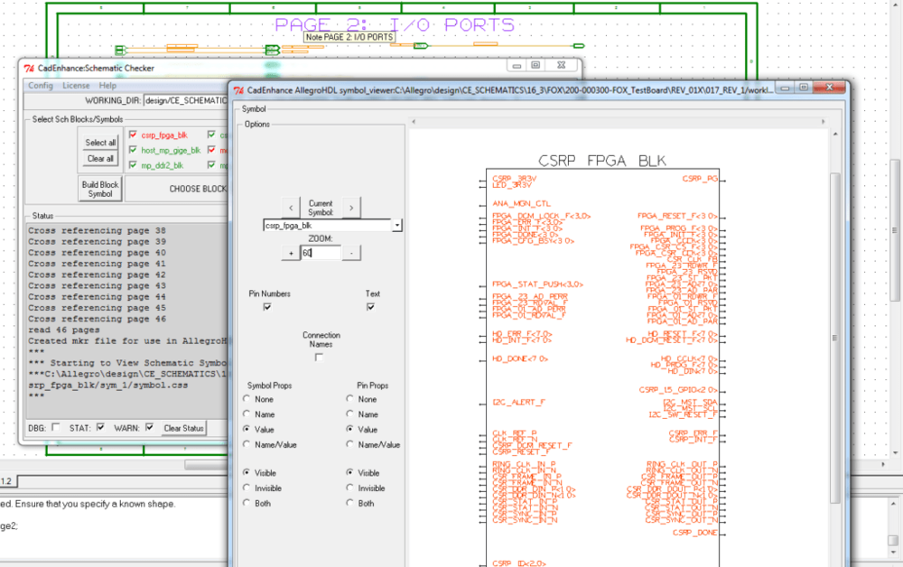 Schematic Checker shows a hierarchical block built using the port layout on the schematic page.
