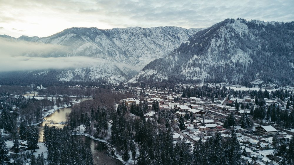 view of leavenworth and surrounding mountains in winter