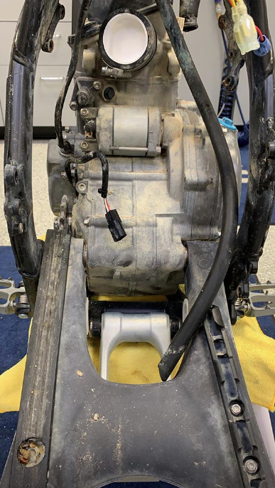 The constant contact with the lime-laced mud discolored the swingarm and engine of the Rockstar Energy Racing Husqvarna on Saturday night. This image is from Sunday afternoon's disassembly.
