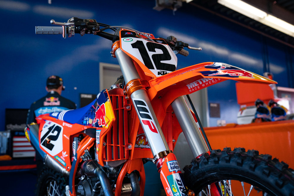Injuries have taken a toll on the Troy Lee Designs/Red Bull/KTM team in 2019 and right before Daytona it was announced that Jordon Smith would sit out the weekend due to his ongoing wrist injury. With the rig and most of the race team already in Florida, it was decided that Shane McElrath could rep the team in the 450 class. But since the truck was already on the other side of the country and time was limited to test, McElrath just used his usual 250 SX-F in the 450 class. McElrath told us at the end of the night that the bike was not the disadvantage some might assume, except for on the start, and he finished a respectable twelfth place in the 450 Main Event. Since McElrath is still in the mix for the 250 West Coast championship, which picks up again at Seattle in two weeks, it doesn't sound like he'll line up at Indianapolis, but that could change.