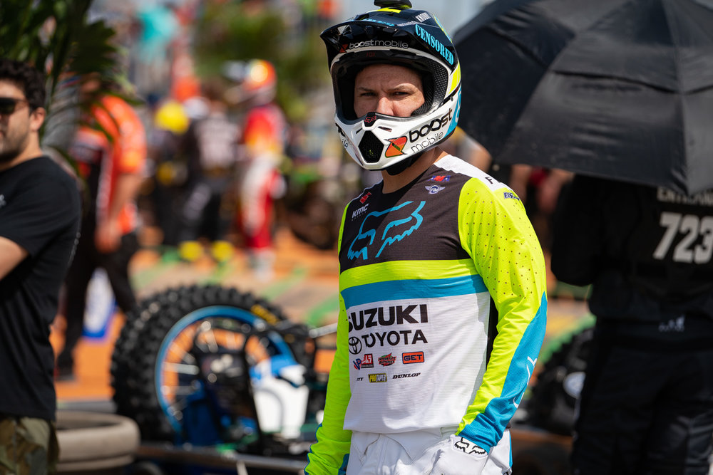 """Spring means new gear and at Daytona Fox Racing put out a new print of Flexair gear on Chad Reed at Daytona. This is one of three new styles we've seen from Fox Racing in two weeks, because the Pro Circuit team has debuted new sets the last two weeks (""""Iced"""" Airline at Atlanta and an all-black set at Daytona)."""