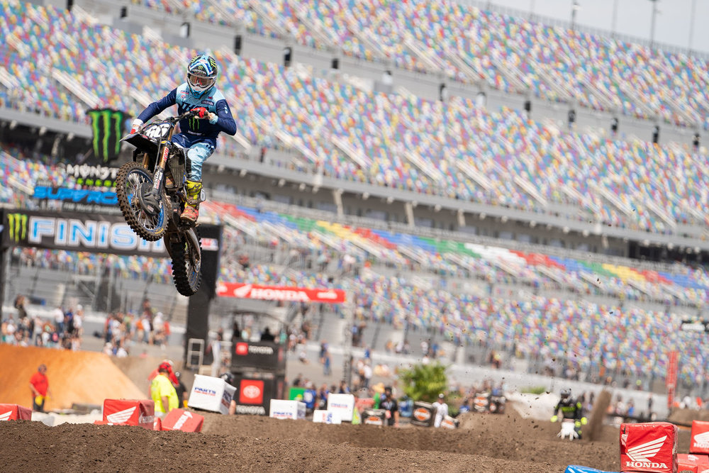 Mitchell Oldenburg was back in action after sitting out Atlanta due to a daytime crash. The Monster Energy/Star Racing/Yamaha rider didn't seem too miss a beat in Daytona and posted a season-best fourth place finish in the 250 Main Event. Oldenburg is currently ranked eighth in the 250 East Coast region championship standings, but fourth through eighth are separated by only nine points, which could make for an interesting few weeks in the final part of the season.