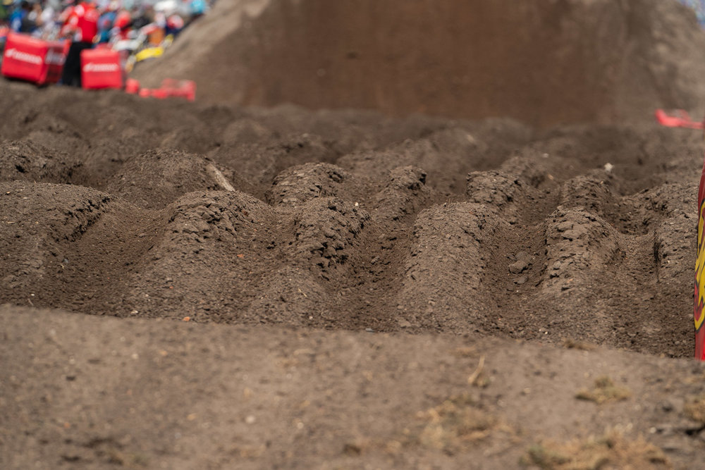 """Daytona. This was the """"whoop section"""" after one full round of practice, where instead of rollers, riders were going through ruts of various heights."""