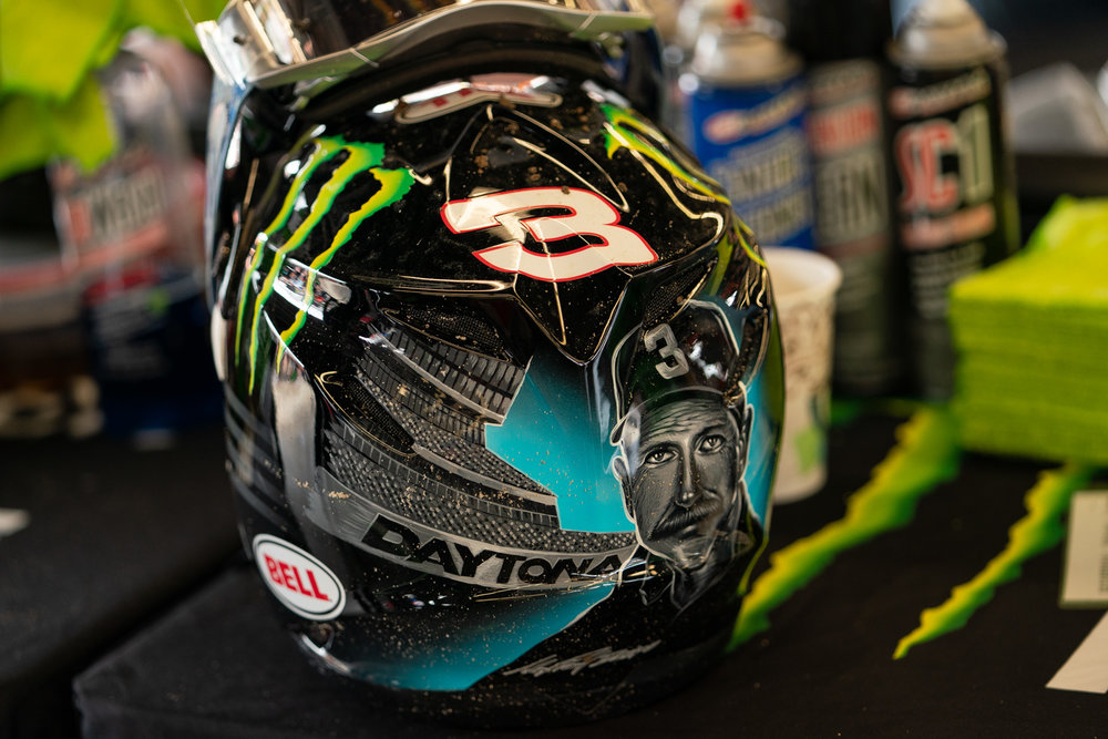 Number three, never forget. Bell Helmets and apdesigns crafted up one of the best tributes to Dale Earnhardt that we've ever seen, complete with a mural of The Intimidator on the back, on the helmet worn by Eli Tomac. We loved it.