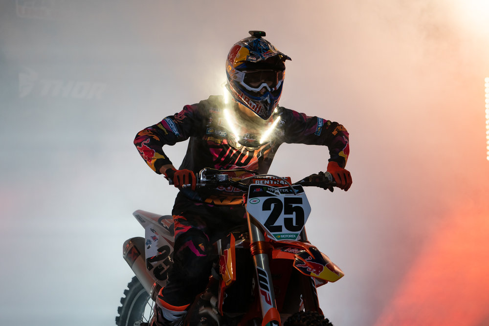 Daytona does some things a little differently, like the smoke that rises from the stage during rider intros, and it makes for excellent images. As much as we'd love to see smoke at every SX, it would kill the cool vibe that comes in Daytona.