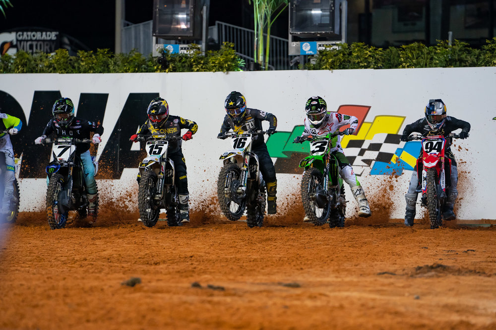 One of these riders has brought back the third gear start technique. We watched Zach Osborne click the shifter on his bike a few times before the gate dropped at Daytona and asked him if he was going into a higher gear. After a joking denial on camera, he cracked and admitted that he'd been trying it for a few weeks. No, we don't recommend you trying the same on your motorcycle, as your ride isn't equipped with a factory Pankl transmission.