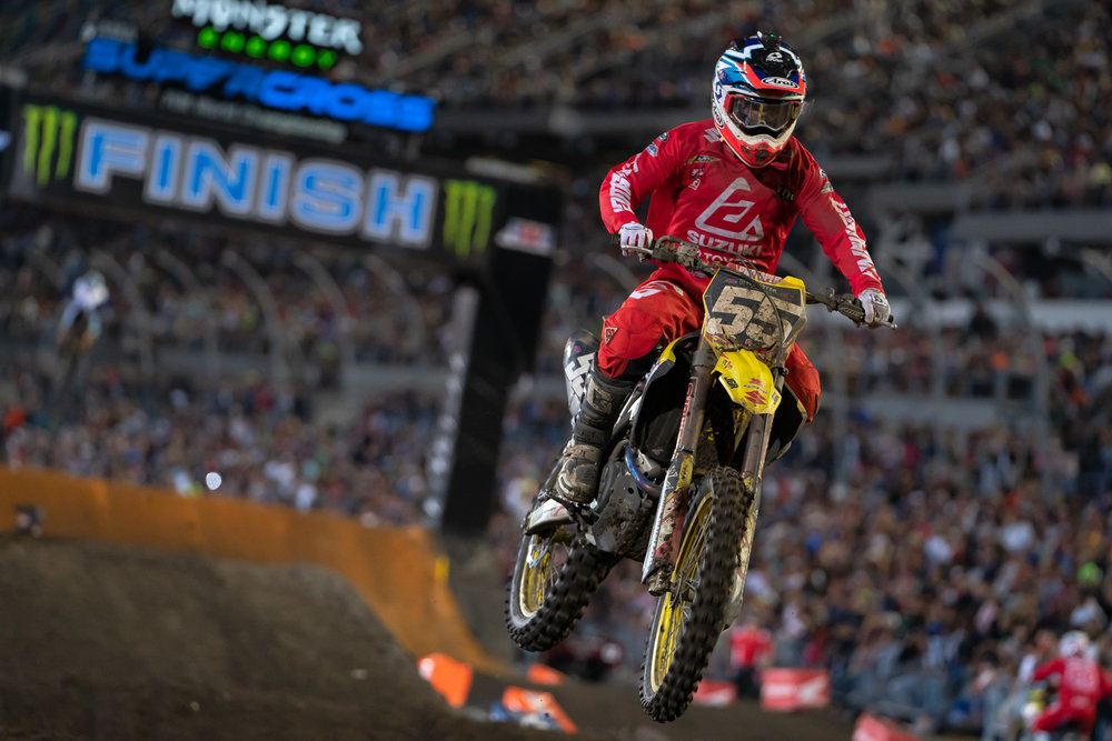 Props to Kyle Peters for his ride in Daytona. A holeshot put the JGRMX/Yoshimura/Suzuki Factory Racing rider at the front of the field for a few laps until passes by Austin Forkner and others, but Peters held on to a seventh-place finish. This is good for Peters, especially after last year's severe knee injury and the late confirmation that he would be back with JGRMX in 2019.