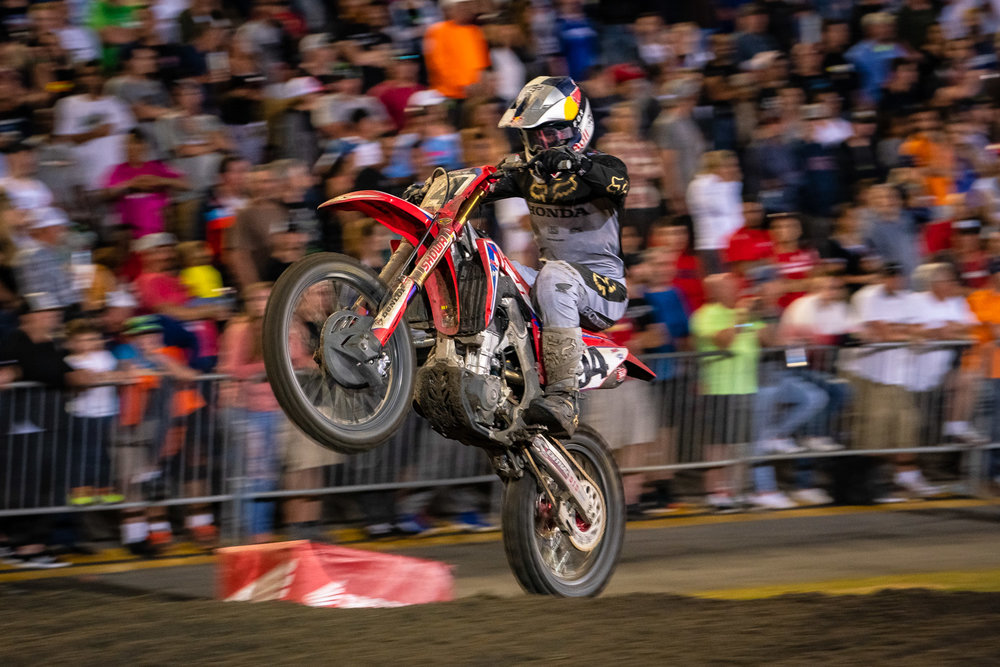 We watched Ken Roczen ride the rear wheel of his Team Honda HRC CRF450R out of the hole that was dug before the finish line. It was bitchin'. Daytona was a tough day for Roczen, as it was the first time he had raced the track since 2016 and the first time on the red bike. A first-turn crash with teammate Cole Seely put both of them at the tail of the field, but Roczen rallied to reached eighth place at the final flag. This was a clutch ride for Roczen, because although he dropped from second to fourth in the point standings, he's down just two markers to Eli Tomac and Marvin Musquin.