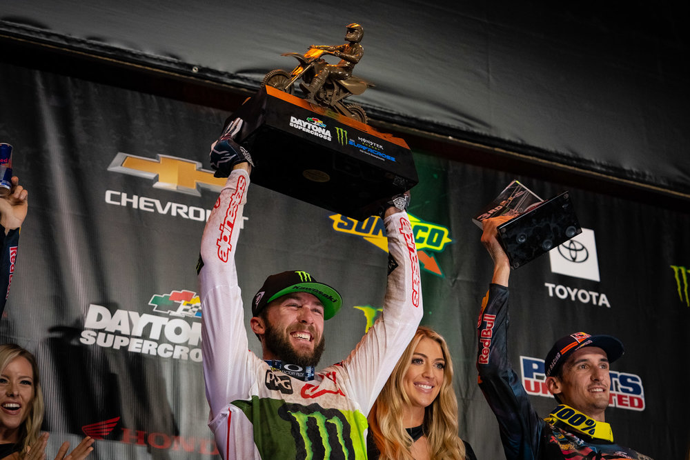 """This was sort of a must-win race for Eli Tomac. The Monster Energy Kawasaki rider crashed at Arlington, won at Detroit, but was never in the mix at Atlanta, which greatly impacted his point scored total. After a hard-earned push to the front of the pack, Tomac went on to take the checkered flag for the third time in his career at Daytona, a feat that has been matched or topped only by Ricky Carmichael, Mike Kiedrowski, Jeff Stanton, Jeremy McGrath, Bob Hannah, Jeff Stanton, Chad Reed, and Ryan Villopoto. It also boosted him from fourth to second in the series standings. When we asked if there were every concerns about the title, Tomac said, """"At this point it's taking it each week. Being nineteen points out, it's a lot of work to do. It's going to stop the bleeding, maybe not stop it but put a band-aid on it. If it would have went the other way, it would have been bad, but there is still some hope."""""""