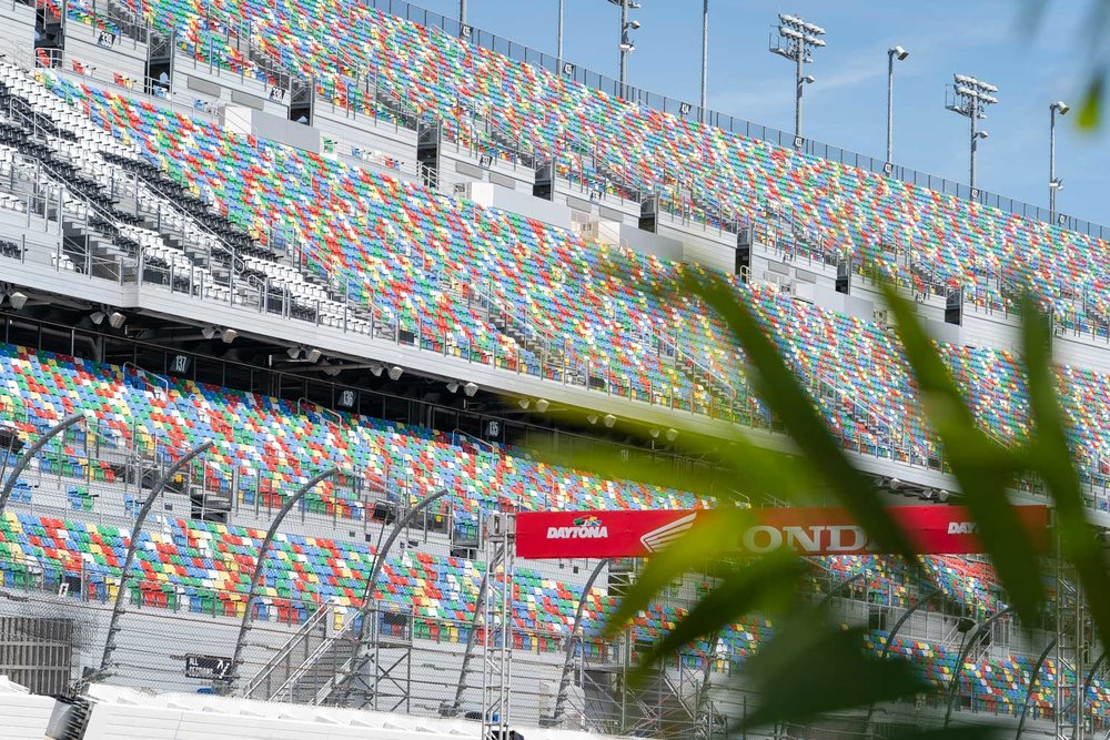 """For how big the main grandstand is at Daytona, we were stoked to see the seating area and front straightaway packed with fans. Florida and Supercross hasn't been the best pairing over the past decade, but Daytona draws in the true fan or racer that is in town for Bike Week and maybe even lining up during the amateur day events. No, it's not the same Daytona that had the brutal heat and 40-rider gates, but there's talk a more flowing, """"traditional"""" Daytona track layout and other memorable features will be back in 2020."""