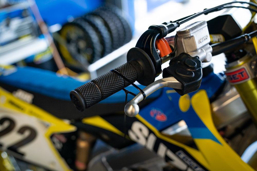 Front brake prep on Chad Reed's RM-Z450.