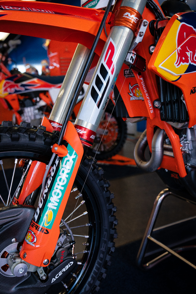 Data collection on Cooper Webb's KTM 450 SX-F. We love stuff like this. There's so much more to motorcycling that can come into motocross and vice versa. Take Ducati in MotoGP for example. This year's Desmosedici GP19 motorcycle is built with a holeshot device that seems to lower the rear-end of the motorcycle for improved traction off the start. Although that's nearly twenty-year old tech in motocross, it's causing quite a stir in road racing.