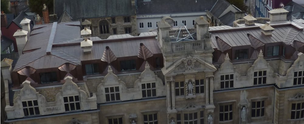 ORIEL COLLEGE - Another Oxford University project using natural copper sits directly on Oxfords high street. This large building sits directly next to the Old Bank Hotel where we also completed the penthouse suite in anthra zinc.