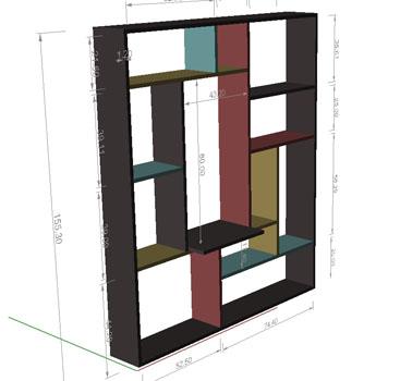 interieurbouw: tekening vakkenkast perspectief