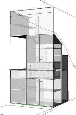 meubels op maat: 3d tekening kast onder trap met cd laden