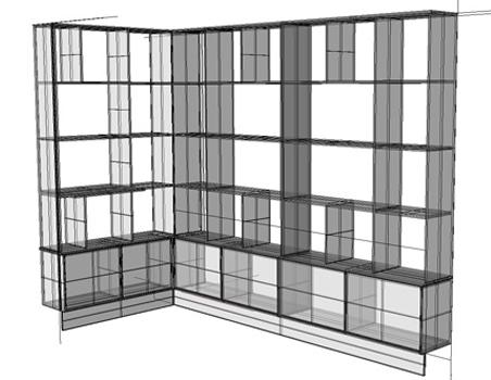 meubels op maat: tekening boekenkast vooraanzicht