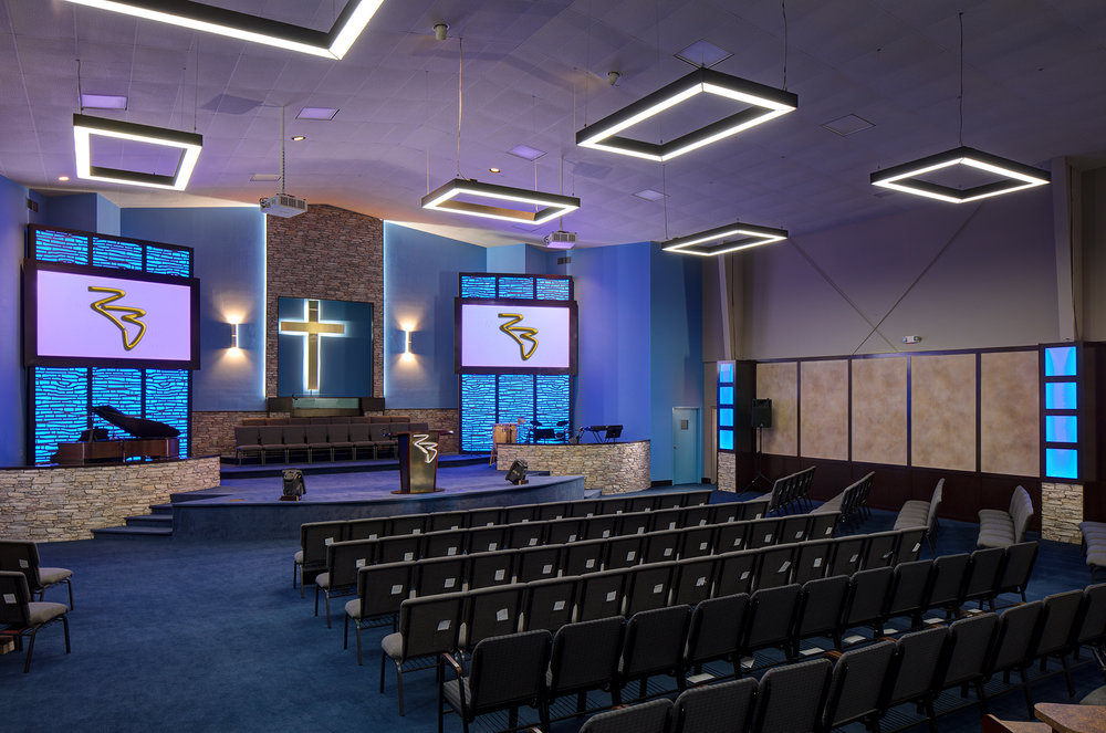 Rock Bridge Baptist, photographed newly designed sanctuary, Norcross, GA