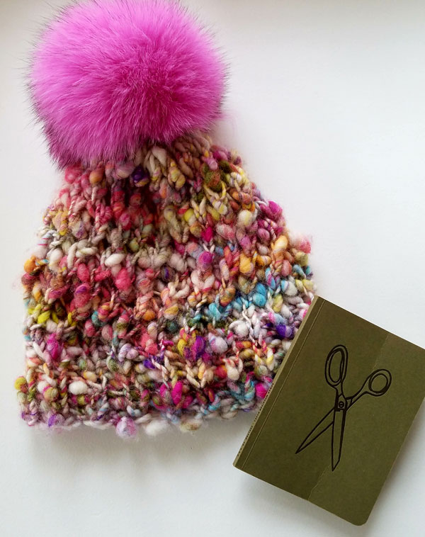 My Sister Knits, Wabarna pom poms, knit collage cast away yarn,