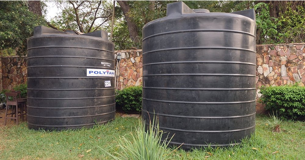 Poly tanks for rain catchment system.