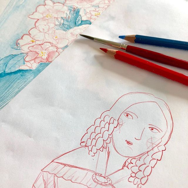 Little WIP today.  Was drawing this young lady plus rose hedges to the smell of lovely myrrh incense (thanks to @yogue8) today.  I will be in Bologna for the book fair and this is supposed to come with me. Who else is going?