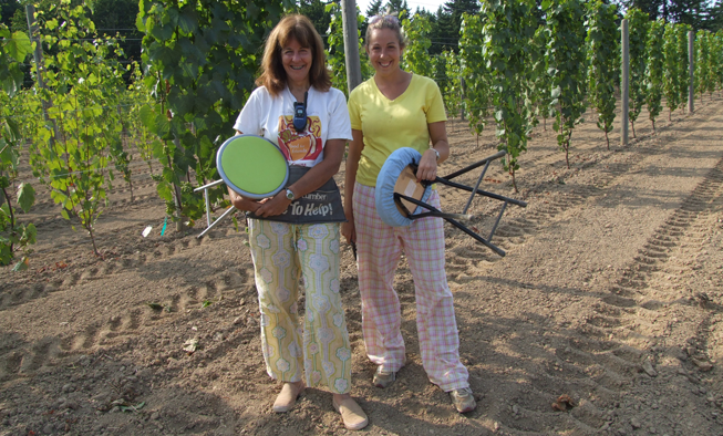 Marilyn & Michelle in the Vineyard at Venturi Schuzle