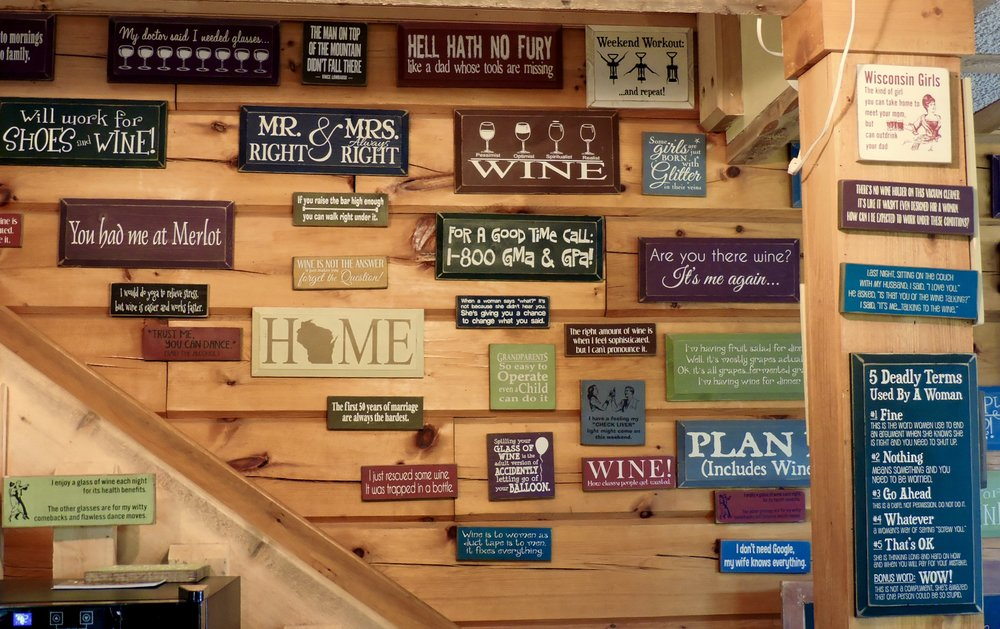 Signs, quotes and just all around funny stuff to put a smile on your face.  Perfect for gifts and/or to hang next to your wine rack.