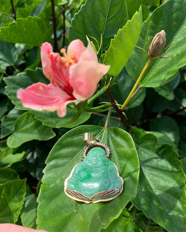 Amazing Green Jade Buddha charm with gold hardware and diamond embellishment! Dm for pricing!