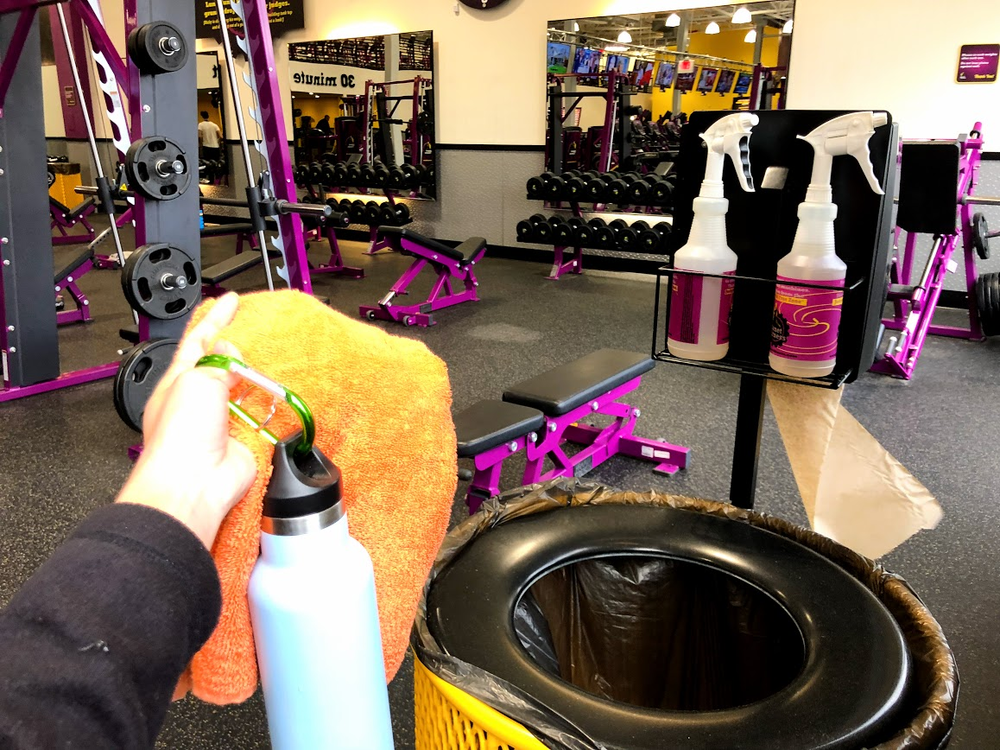 Julia recommends bringing a towel from home to clean up after a workout, rather than wasting paper towels!
