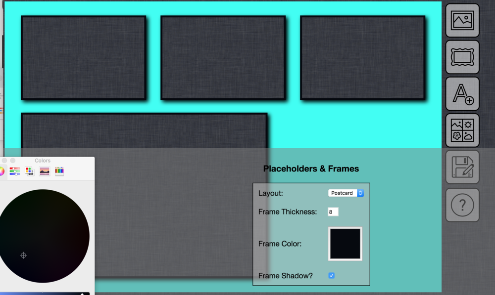 Placeholder and Frame tab in SLR Booth Custom Template Editor.