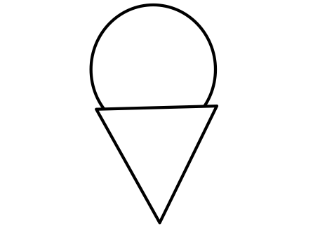A triangle beneath a circle, to suggest an ice cream cone