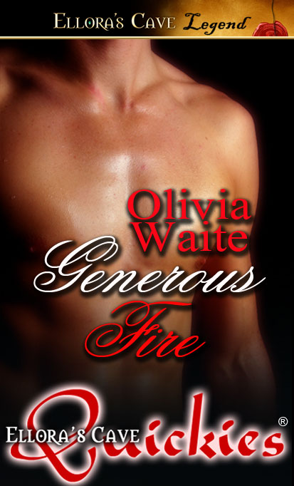 The torso of a naked male standing against a black background. Red and white text informs you this is Generous Fire, by Olivia Waite--hey, that's me!